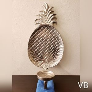 Sterling Silver Plated Metal Pineapple Sconce.